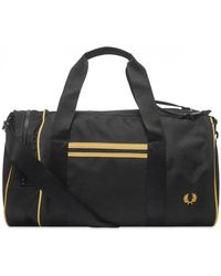 Fred Perry Authentic Twin Tipped Barrel Bag Black & Champagne
