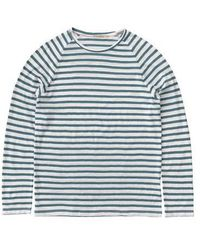 Nudie Jeans Mariniere Bleu Clair En Coton Bio Otto Breton - Blue