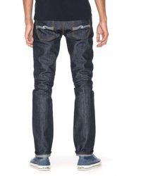 Nudie Jeans Jeans Selvage L30 Jean Denim Liner Indigo Lignée Grim Tim Dry - Bleu