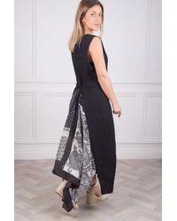 Weekend by Maxmara Robe noire en lin Blasone avec dos imprimé - Multicolore