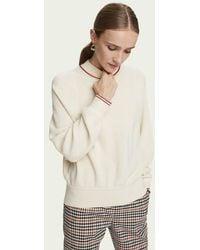 Maison Scotch Pullover in maglia a girocollo alto in misto lana Crema - Neutro