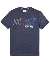 Tommy Hilfiger Tommy Jeans-Block-Logo-T-Shirt Marine - Blau