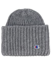 Champion High Fold Over Ribbed Beanie Cap Grey