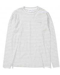Norse Projects Long Sleeve James Logo Stripe Tee - Gray