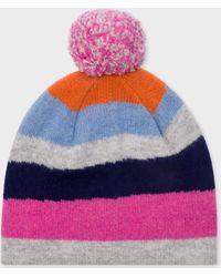 Paul Smith Gorro bobble de lana con rayas de montaña para mujer - Multicolor