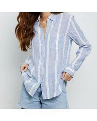 Rails Charli Levanzo Streifen Leinenhemd - Blau