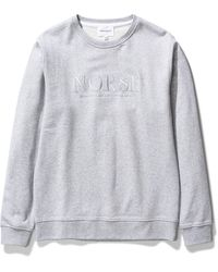 Norse Projects - Sweat Vagn Serif Logo Gris - Lyst