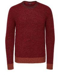 SELECTED Pullover mit Rundhalsausschnitt - Rot