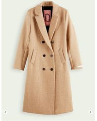 Scotch & Soda Tailored Wool-blend Double Breasted Coat Sand Melange - Natural