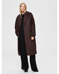 SELECTED Gingham Checked Coat Navy Rust - Brown