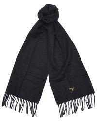Barbour Bufanda de lana de cordero lisa en negro - Azul