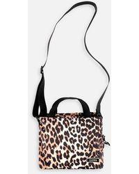 Ganni Top Handle Bag Leopard - Multicolor
