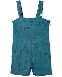 RVCA Crack It Short Indigo Bleached Overall - Blu