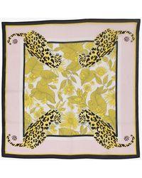 Baum und Pferdgarten Lexine Silk Scarf In Tropically Lemon Leopard Print - Yellow