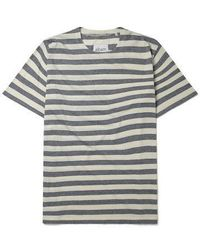 Albam Boat Neck Tee Blue White Stripes
