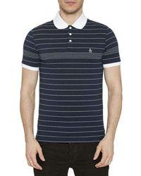 Original Penguin - Engineered Fine Stripe Polo Shirt Dark Saphire - Lyst