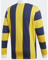 adidas Kontraststreifen Rugby Shirt Indigo & Gelb DU7853 - Mehrfarbig