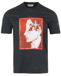 Z Zegna Camiseta con estampado de caras gris oscuro