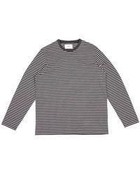 Folk T-shirt à mini rayures et manches longues Ardoise Melange - Gris