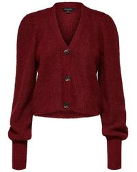SELECTED Cabernet Cropped Knitted Deep Red/wine Cardigan With V-neck And Extra Long Sleeves