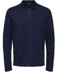 SELECTED Dark Sapphire Milano Long Sleeved Polo - Blue
