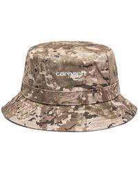Carhartt Sombrero pescador Script Camo Combi Desert White - Marrón