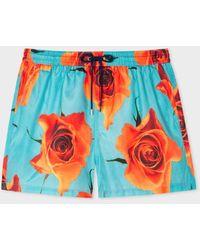 Paul Smith Shorts de baño turquesa con estampado 'Monarch Rose' - Multicolor