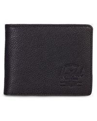 Herschel Supply Co. Cartera Hank Black Pebbled Leather