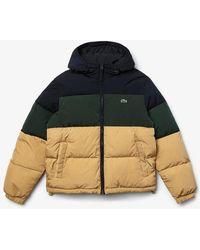 Lacoste Color Block Down Jacket Blue Beige Green - Multicolor