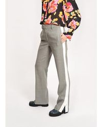 Essentiel Antwerp Light Grey Wool Blend Trousers With Contrasting Stripe