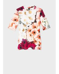 Paul Smith Daydreaming Floral Print S Long Sleeve T Shirt - Pink