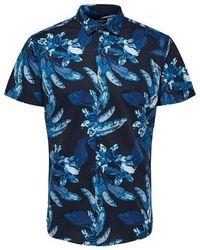SELECTED S S Botanical Shirt Blauer dunkler Saphir