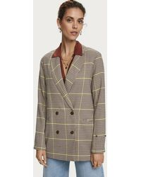 Maison Scotch Longer Length Checked Double Breasted Blazer - Multicolor
