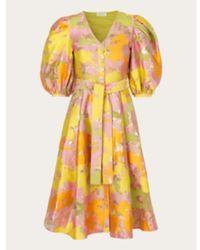 Stine Goya Vestido Amira con estampado Distorsión - Amarillo