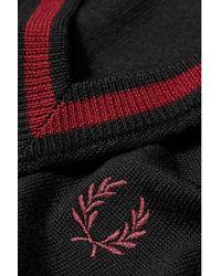Fred Perry Maglione K5151 253 con scollo a V ripuntato in lana merino - Multicolore