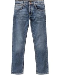 Nudie Jeans - Dunkelblaue Indigo Grim Tim Slim Fit Jeans - Lyst