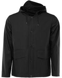 Rains Manteau court à capuche unisexe noir