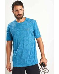 Under Armour T-shirt aderente filettata Elite blu Bayou