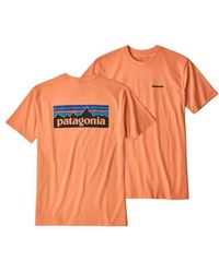Patagonia T Shirt P 6 Logo Responsibili Peach Sherbet - Orange