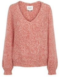 Second Female West Knit V Neck Sweater In Coral - Pink