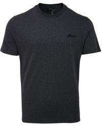 Brioni T-shirt Mercerisé marque Anthracite - Noir