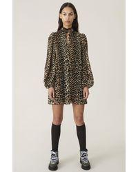Ganni Vestido Estampado Leopardo Plisado - Multicolor