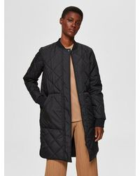 SELECTED Quilted Puffer Jacket Black