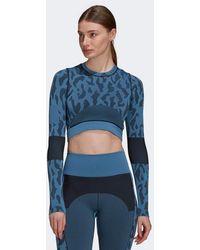 adidas By Stella McCartney Crop Top sans coutures True Purpose Storm Blue Noir - Bleu