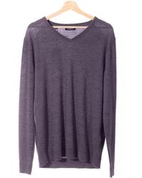 SELECTED Pull Gris Homme - Violet