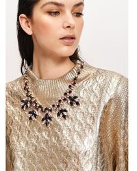 Essentiel Antwerp Black And Pink Rhinestone Encrusted Necklace - Multicolour