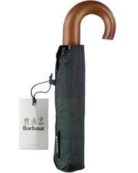 Barbour Tartan Mini Paraguas Reloj Negro Tartan