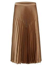 SELECTED Gold Harmony Pleated Satin Midi Skirt - Brown