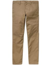 Carhartt Pantalón Sid de algodón y poliéster camel - Marrón