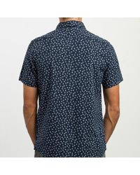 RVCA Ficus Floral Button Up Shirt - Blu